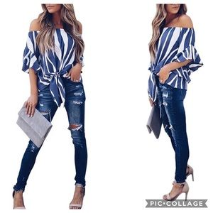 ✨1 LEFT Off the Shoulder Knot Front Top Blouse ✨